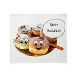 Happy Hanukkah Donuts Throw Blanket
