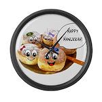 Happy Hanukkah Donuts Large Wall Clock
