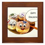 Happy Hanukkah Donuts Framed Tile
