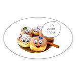 Chanukah Sameach Donuts Sticker (Oval 50 pk)