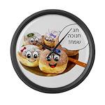 Chanukah Sameach Donuts Large Wall Clock