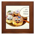 Chanukah Sameach Donuts Framed Tile