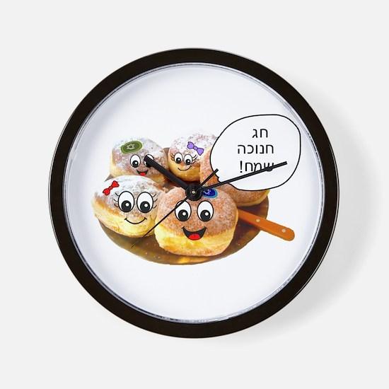 Chanukah Sameach Donuts Wall Clock