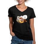 Chanukah Sameach Donuts Women's V-Neck Dark T-Shir