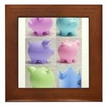 Colorful Cute Pigs Collage Framed Tile
