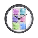Colorful Cute Pigs Collage Wall Clock