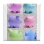 Colorful Cute Pigs Collage Tile Coaster