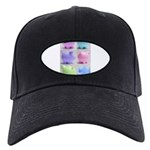 Colorful Cute Pigs Collage Black Cap