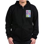 Colorful Cute Pigs Collage Zip Hoodie (dark)