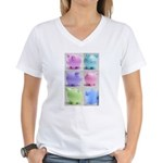 Colorful Cute Pigs Collage Women's V-Neck T-Shirt