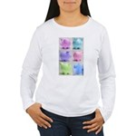 Colorful Cute Pigs Collage Women's Long Sleeve T-S
