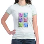 Colorful Cute Pigs Collage Jr. Ringer T-Shirt