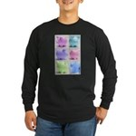 Colorful Cute Pigs Collage Long Sleeve Dark T-Shir