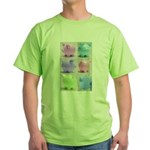 Colorful Cute Pigs Collage Green T-Shirt