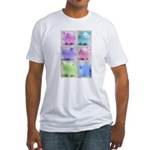 Colorful Cute Pigs Collage Fitted T-Shirt
