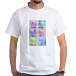 Colorful Cute Pigs Collage White T-Shirt
