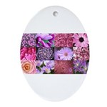 Pink Flowers Photography Coll Ornament (Oval)