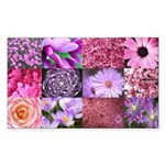 Pink Flowers Photography Coll Sticker (Rectangle 1