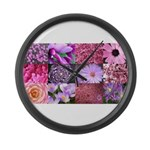 Pink Flowers Photography Coll Large Wall Clock