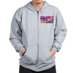 Pink Flowers Photography Coll Zip Hoodie