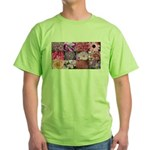 Pink Flowers Photography Coll Green T-Shirt