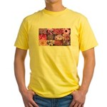 Pink Flowers Photography Coll Yellow T-Shirt