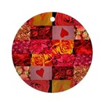 Stylish Red Photo Collage Ornament (Round)