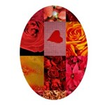 Stylish Red Photo Collage Ornament (Oval)
