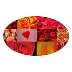 Stylish Red Photo Collage Sticker (Oval 50 pk)