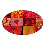 Stylish Red Photo Collage Sticker (Oval)