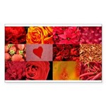 Stylish Red Photo Collage Sticker (Rectangle)