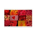 Stylish Red Photo Collage Rectangle Magnet (100 pa