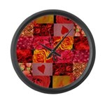 Stylish Red Photo Collage Large Wall Clock