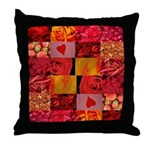 Stylish Red Photo Collage Throw Pillow