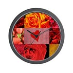 Stylish Red Photo Collage Wall Clock