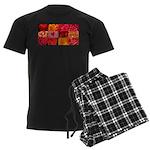 Stylish Red Photo Collage Men's Dark Pajamas