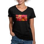 Stylish Red Photo Collage Women's V-Neck Dark T-Sh