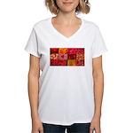 Stylish Red Photo Collage Women's V-Neck T-Shirt