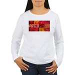Stylish Red Photo Collage Women's Long Sleeve T-Sh