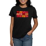 Stylish Red Photo Collage Women's Dark T-Shirt
