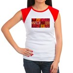 Stylish Red Photo Collage Women's Cap Sleeve T-Shi