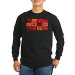 Stylish Red Photo Collage Long Sleeve Dark T-Shirt