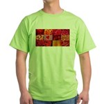 Stylish Red Photo Collage Green T-Shirt