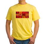 Stylish Red Photo Collage Yellow T-Shirt
