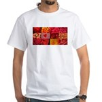 Stylish Red Photo Collage White T-Shirt