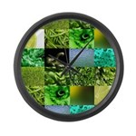 Green Photography Collage Large Wall Clock