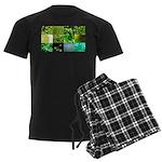 Green Photography Collage Men's Dark Pajamas