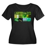 Green Photography Collage Women's Plus Size Scoop