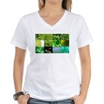 Green Photography Collage Women's V-Neck T-Shirt
