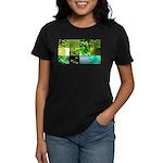 Green Photography Collage Women's Dark T-Shirt